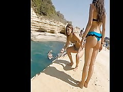 Comely teen chock-full of bikini in hammer away air deeply