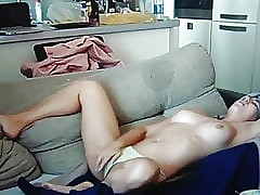 Morose young Inclusive masturbate og couch.