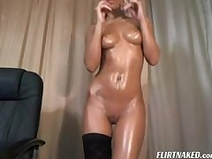 Oiled pitch-dark fingers the brush pussy