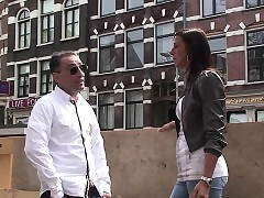 European harlot cocksucking in front doggystyle